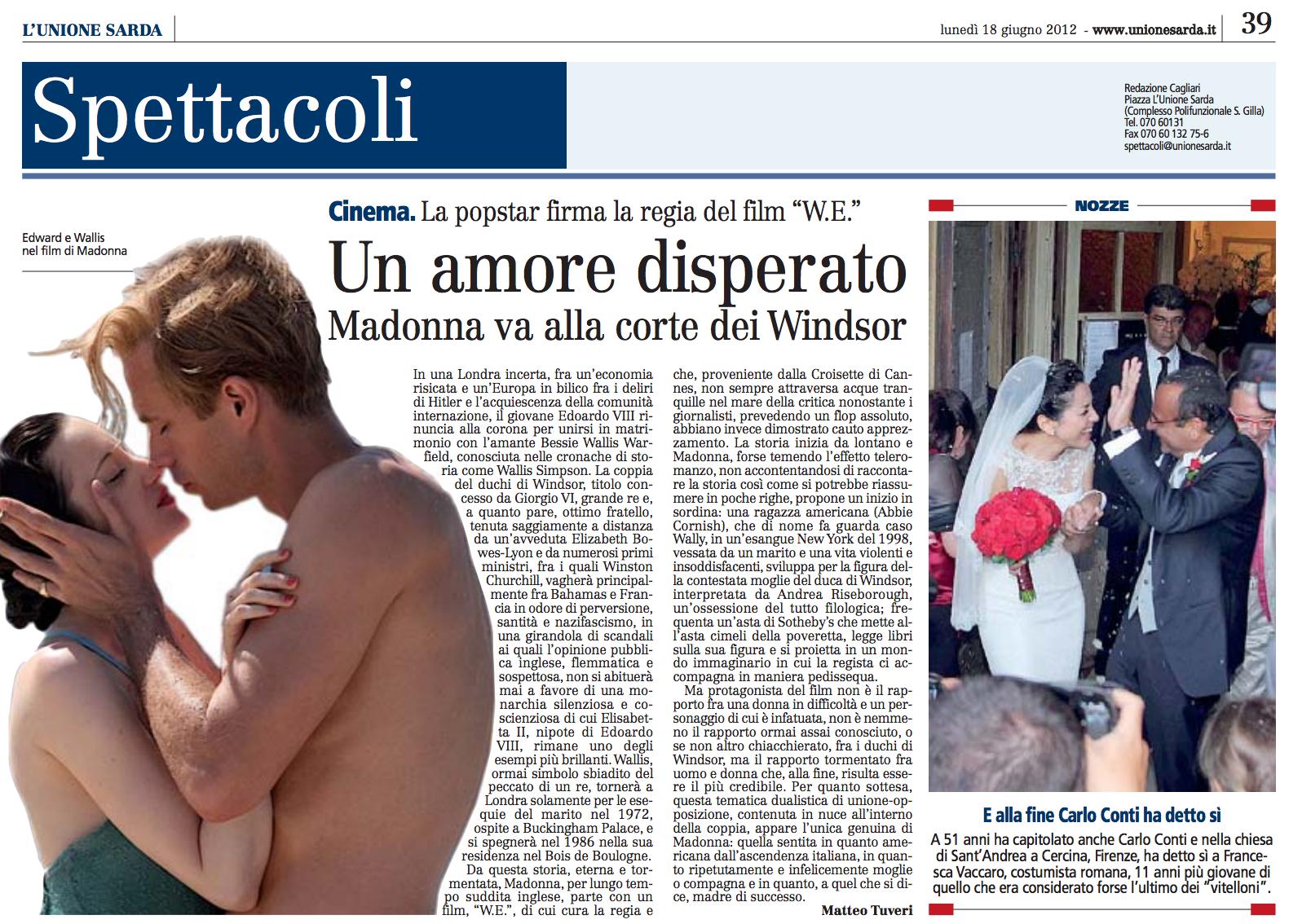 Un amore disperato. Madonna va alla corte dei Windsor.